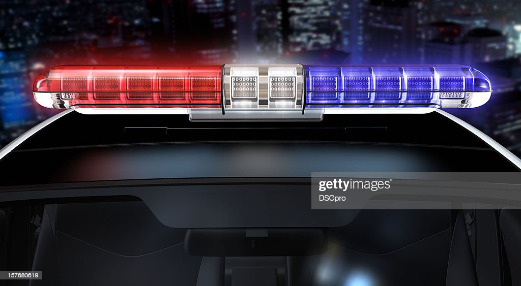 Police lights with path : Stock Photo