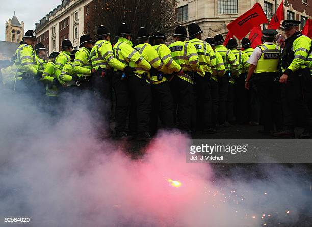 A police line contains a anti English Defence League demonstration in Leeds town centre on October 31 2009 in Leeds England The English Defence...