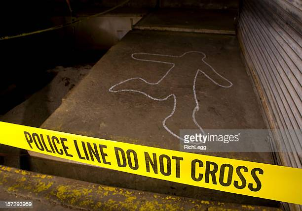 police line crime scene - chalk outline stock pictures, royalty-free photos & images