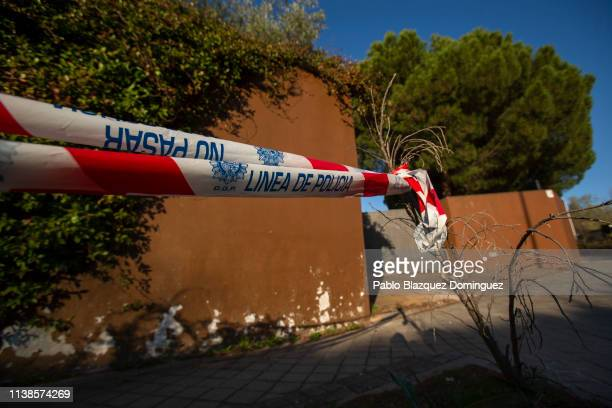 A police line 'Do not cross' is placed outside the North Korean Embassy on March 27 2019 in Madrid Spain The North Korean Embassy was raided last...