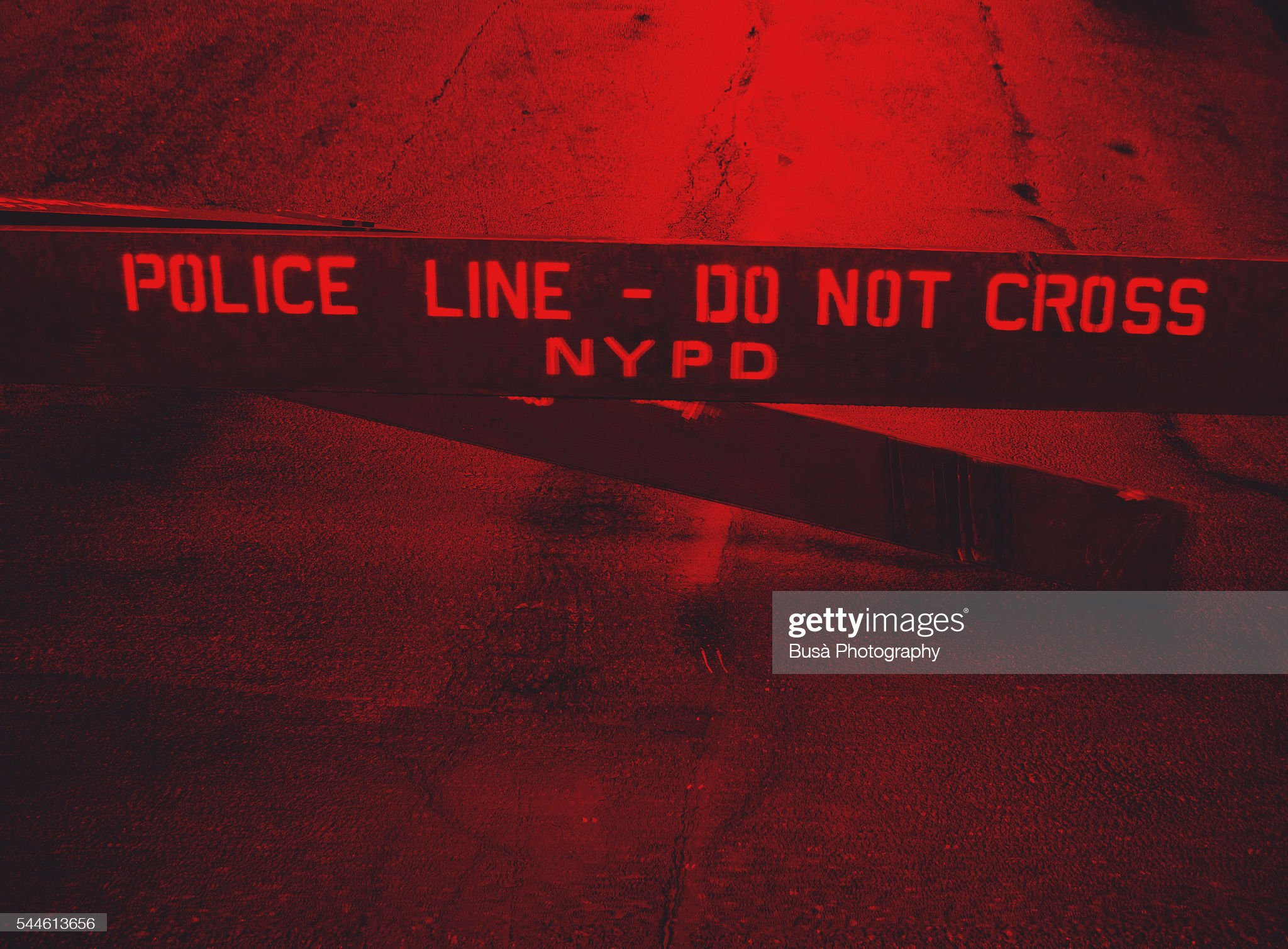 Police Line - Do Not Cross NYPD fence in the streets of New York City, USA : Stock Photo