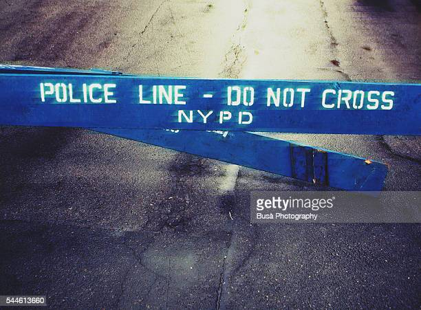 Police Line - Do Not Cross NYPD fence in the streets of New York City, USA