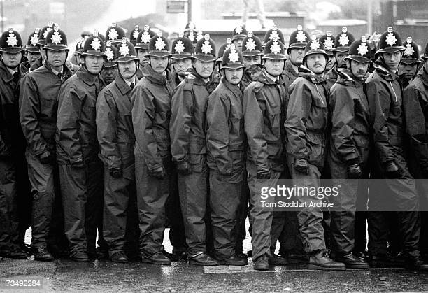 A police line during a confrontation with miners at the Orgreave coking plant in South Yorkshire 18th June 1984 The most violent incident of the UK...