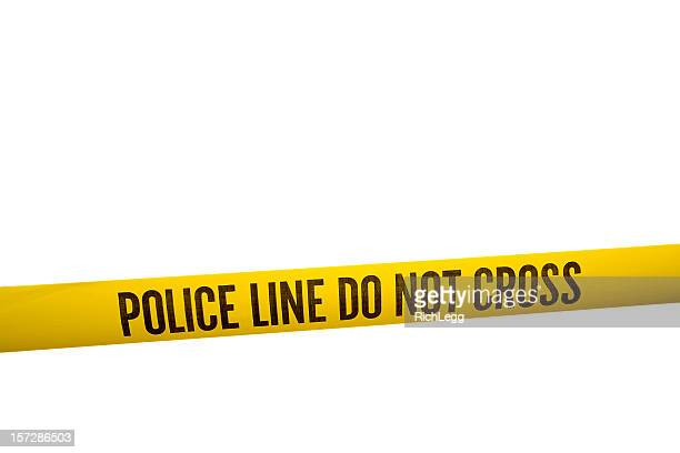 police line tape with clipping path - cordon boundary stock pictures, royalty-free photos & images