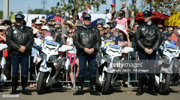 Police line the routes as the Duke and Duchess of Cambridge visit the Royal Easter Show at Sydney Olympic Park during the twelfth day of their...