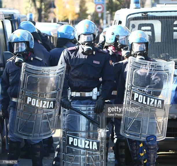 Police line up to control fancs at the Serie A game between Atalanta and AC Milan on November 11 2007 in Bergamo Italy The match was suspended after...