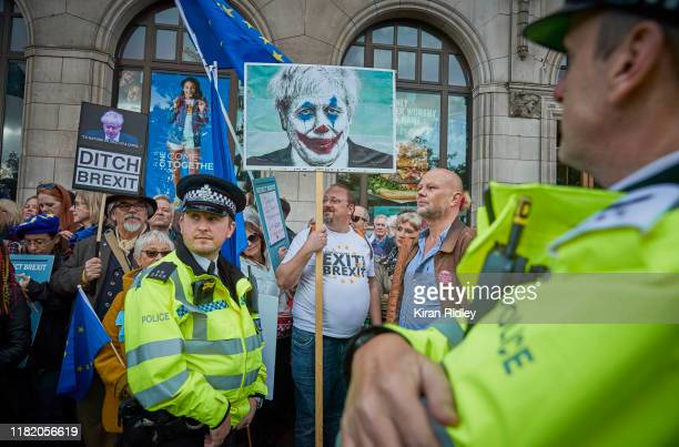 Police look towards protestors during the People's Vote Rally on October 19 2019 in London England Thousands have taken to the streets of London...