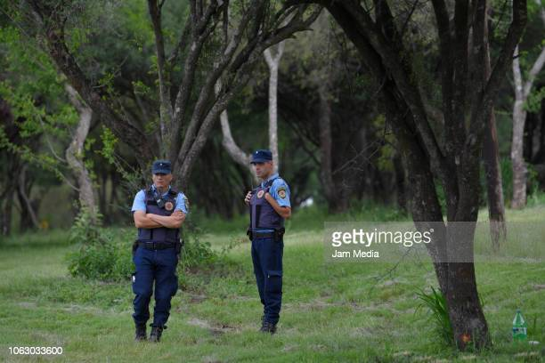 Police looks on during Argentina training session ahead of the international friendly match against Mexico on November 17, 2018 in Cordoba, Argentina.