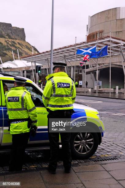 Police maintain a higher visibility presence around the Scottish Parliament before the weekly session of First Minister's Questions as flags fly at...