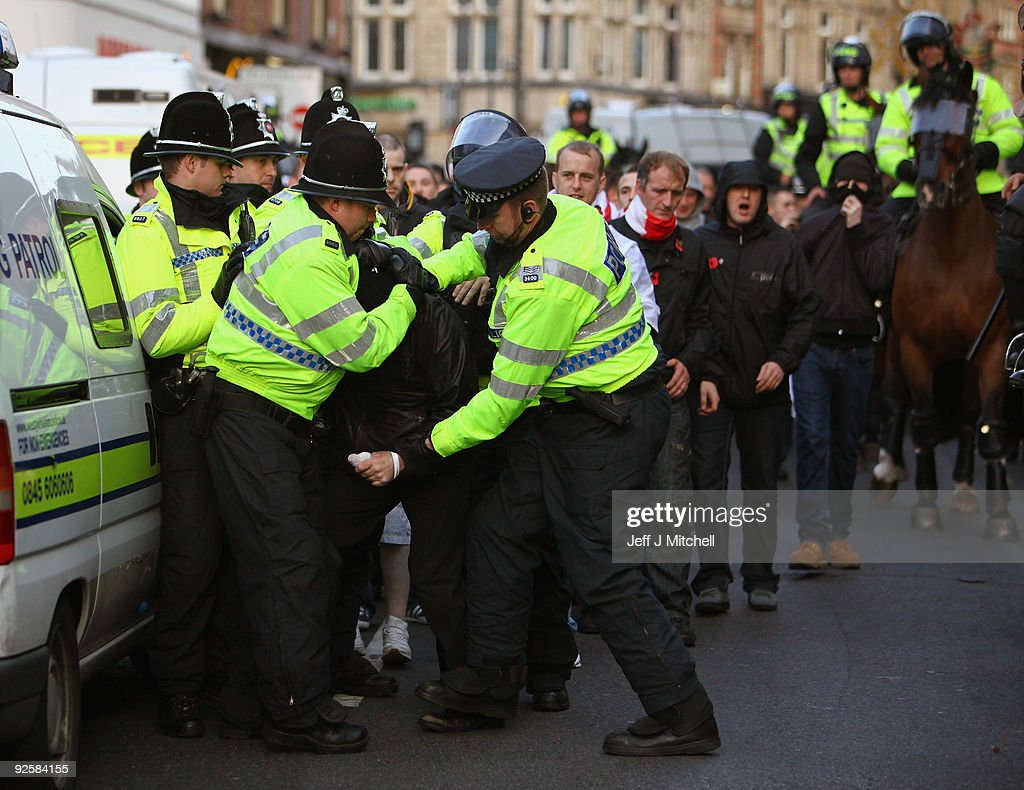 The English Defence League Hold City Centre Demonstrations : News Photo