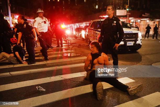 Police make dozens of arrests as demonstrations continue in Manhattan over the killing of George Floyd by a Minneapolis Police officer on June 03...