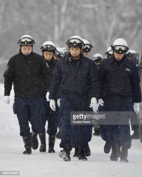 Police make rescue efforts in the wake of the eruption of Mt MotoShirane in Kusatsu Gunma Prefecture northeast of Tokyo on Jan 23 2018 ==Kyodo