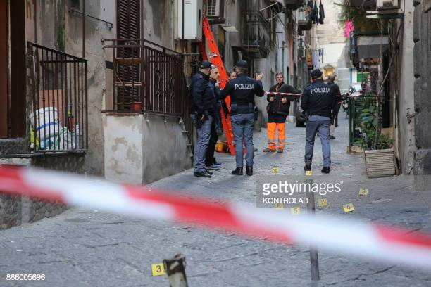 "Police make the reliefs on the site of the shootout called ""Stesa"" in the Sanita' District, in Vico Cangiani in Santa Maria Antesaecula."
