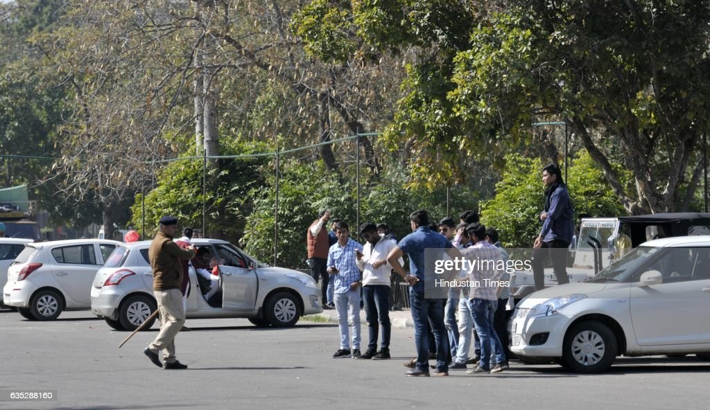 A police man stops the vehicles to enter in leisure valley at sector 10 on February 14 2017 in Chandigarh India