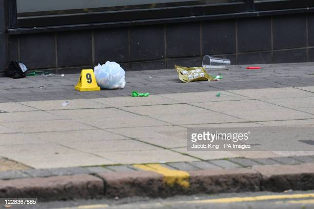 Police marker at the scene in Hurst Street, Birmingham, after a number of people were stabbed in the city centre. West Midlands Police said they were...