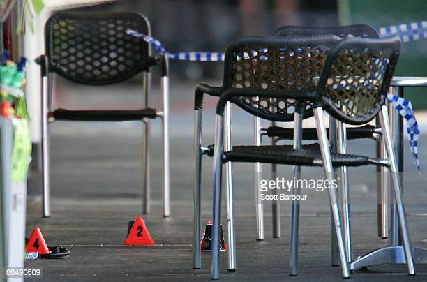 Police markers and tape are seen at the crime scene where underworld figure Desmond 'Tuppence' Moran was shot dead earlier today at Ascot Vale on...