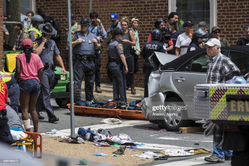 Car Runs Over Crowd of Anti-White Supremacy Protestors in Charlottesville : News Photo
