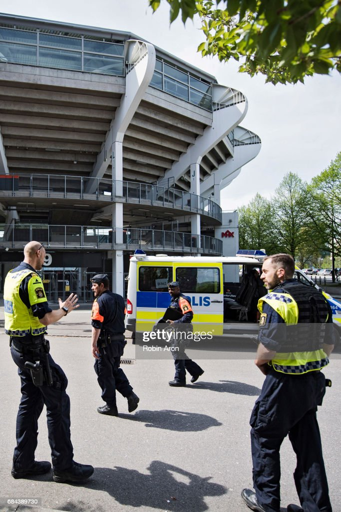 Police meet up outside Gamla Ullevi after it was announced that the the Allsvenskan match between IFK Goteborg and AIK is cancelled due to suspicions of match fixing, on May 18, 2017 in Gothenburg, Sweden.