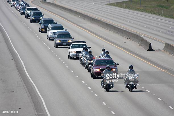 police memorial motorcade heading north 6-6-13 - hearse stock photos and pictures