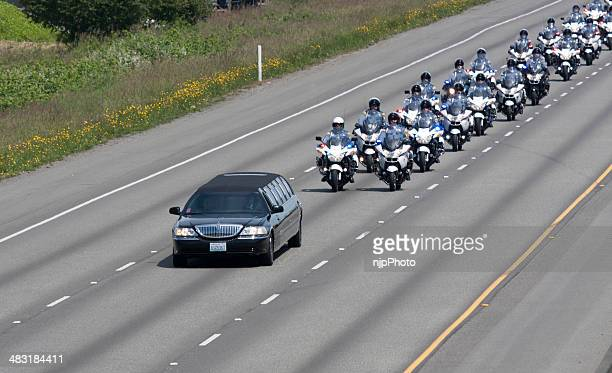 police memorial motorcade heading to comcast arena 6-6-13 - funeral procession stock photos and pictures