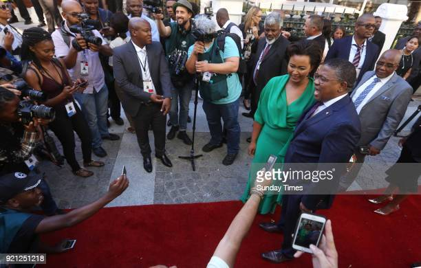 Police Minister Fikile Mbalula and his wife Nozuko on the red carpet at the State of the Nation Address 2018 in Parliament on February 16 2018 in...