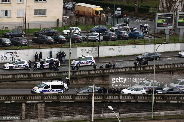 Police mobilize with reports of a hostage situation at Port de Vincennes on January 9 2015 in Paris France According to reports at least five people...