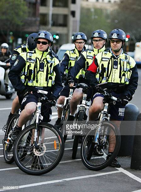 Police monitor activity during day three of the AsiaPacific Economic Cooperation meeting in Sydney Australiaon Tuesday Sept 4 2007 The agenda for the...