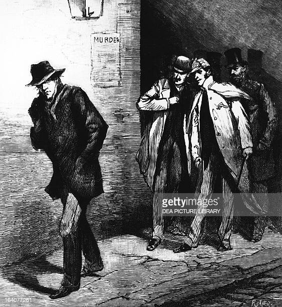 Police monitoring a suspect at the time of Jack the Ripper London engraving England 19th century