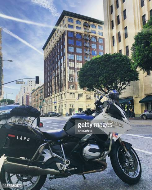 police motorcycle parked in los angeles downtown, usa - los angeles police department stock pictures, royalty-free photos & images