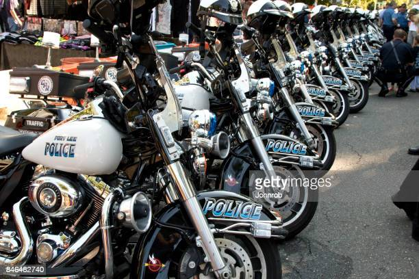 Police Motorcycles lined up, at annual benefit rally