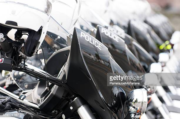 Police Motorcycles Parked In a Line