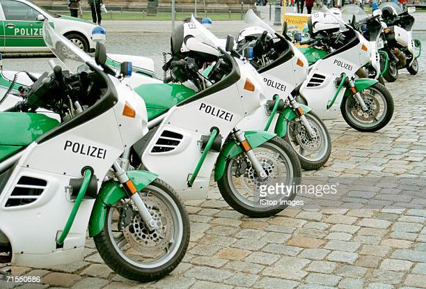 Police motorcycles parked in a row