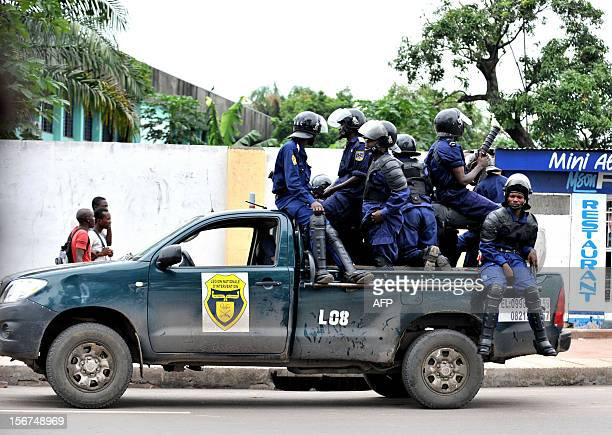Police mount a fourwheel drive vehicle as students from the Architecture and Urbanism institute protest against civil unrest on November 20 2012...