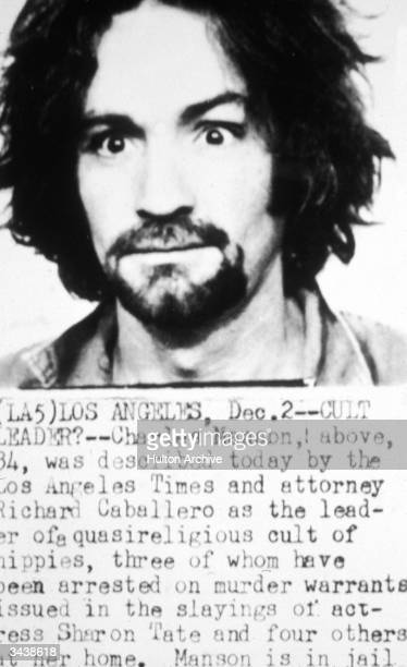 Police mug shot of American cult leader and murderer Charles Manson Information about the TateLaBianca murders is detailed below the photo