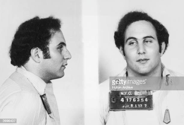 Police mug shot showing the front view and profile of convicted New York City serial killer David Berkowitz known as the 'Son of Sam'