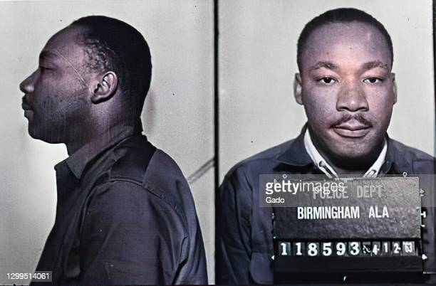 Police mugshot of Martin Luther King Jr following his arrest for protests in Birmingham, Alabama, 1963. From the Gado Modern Color series. Note:...