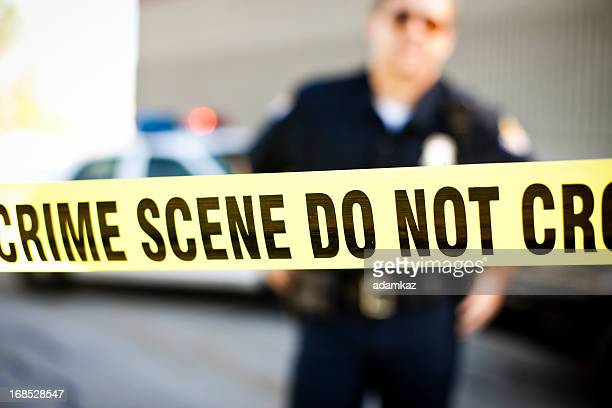 police officer at crime scene - police vehicle lighting stock pictures, royalty-free photos & images