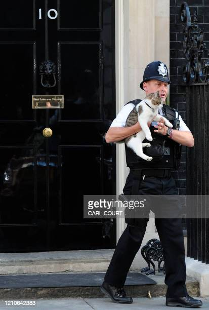 Police officer carries 'Larry', the Downing Street cat, outside 10 Downing Street in central London, on June 9, 2011. AFP PHOTO/CARL COURT