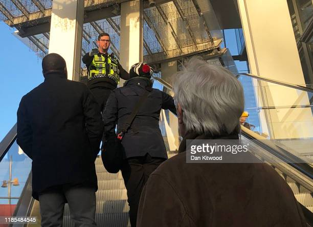 Police Officer cordons off London Bridge Station following an incident on November 29 2019 in London England Police responded to an incident around...