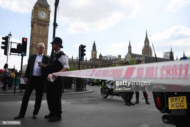 A police officer cordons off Whitehall on May 24 2017 in London England The UK terror status is elevated to Critical in the wake of the Manchester...