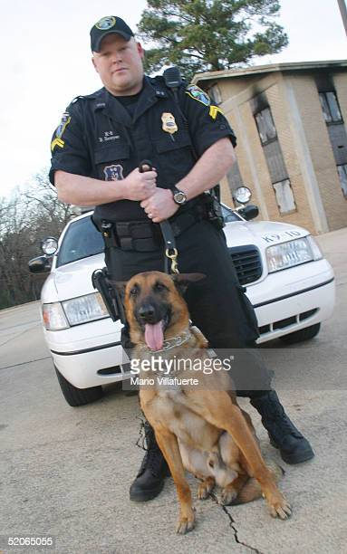 Police Officer Cpl Dan Sawyer and his K9 partner Renzo a Belgian Malinois is one of 8 teams of officers and dogs in the city of Shreveport January 25...