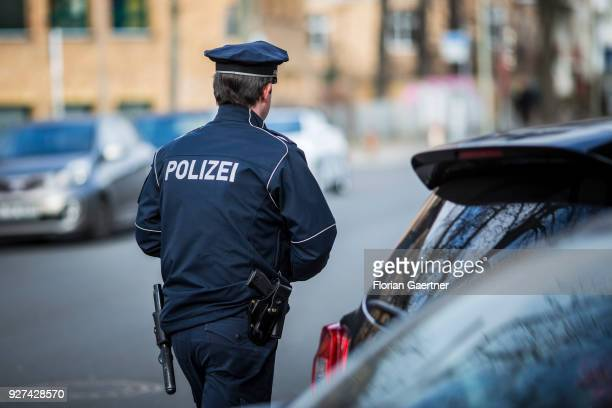 A police officer during a traffic control in Berlin on February 27 2018 in Berlin Germany