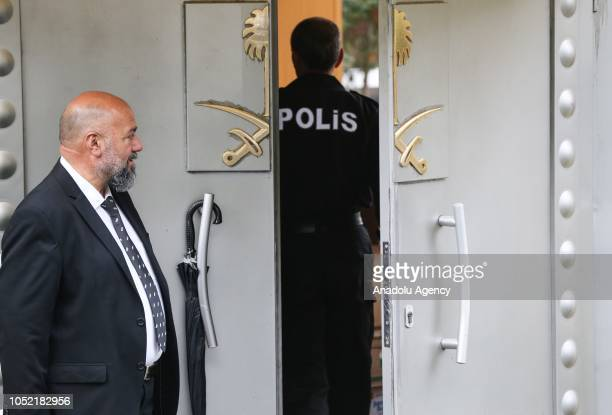 A police officer enters Saudi consulate as the waiting continues on the disappearance of Prominent Saudi journalist Jamal Khashoggi in the Consulate...