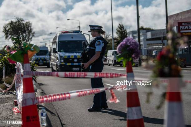 A police officer guards the area near Linwood mosque on March 19 2019 in Christchurch New Zealand 50 people were killed and dozens are still injured...