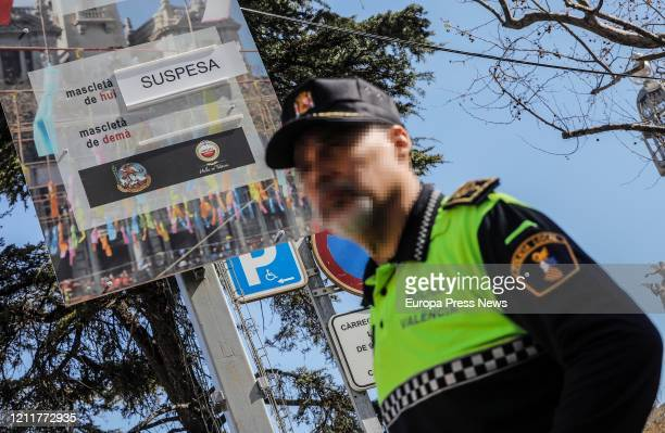 Police officer in the Mascleta event after his cancellation and one day after the suspension of the Fallas by the Government of the Generalitat Of...