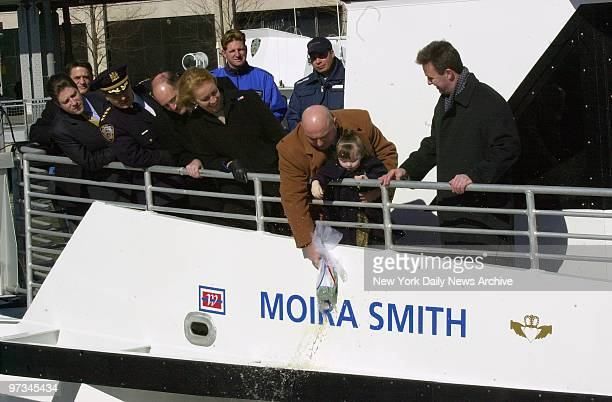 Police Officer James Smith and his daughter, Patricia christen ferry dedicated to the memory of his wife, fallen New York City Police Officer Moira...
