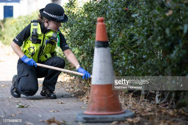 Police officer look for knives at Edgwick Park on September 19, 2020 in Coventry, England. Shadow Home Secretary Labour MP Nick Thomas-Symonds joined...