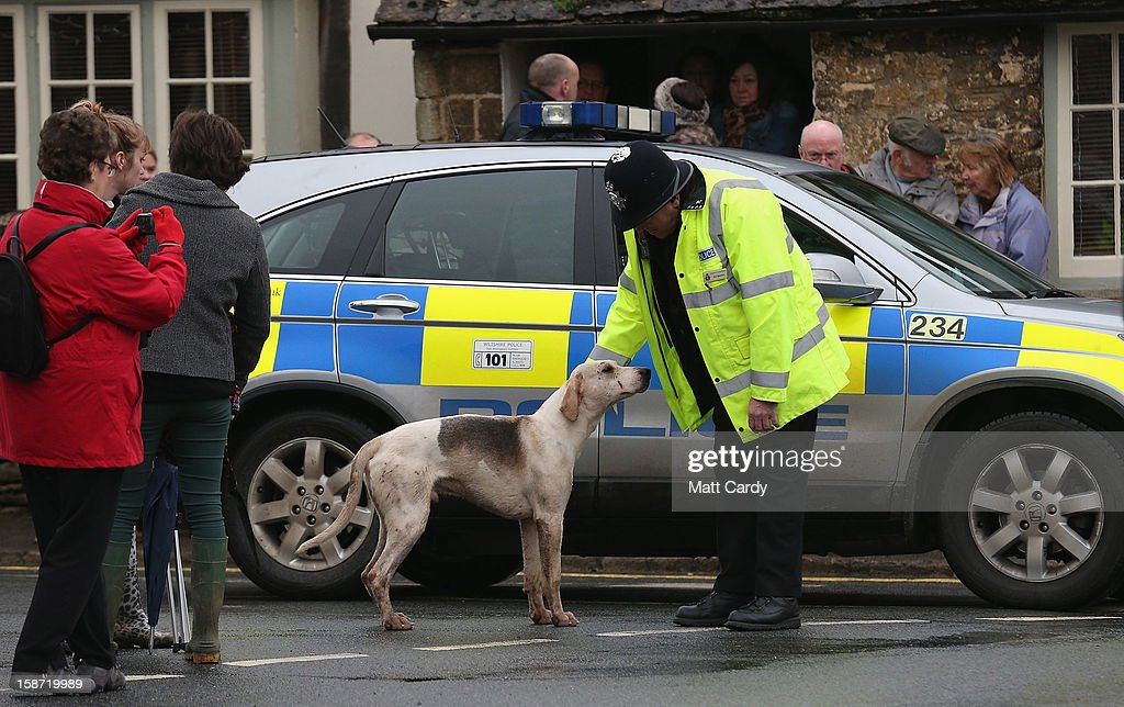 Police officer Neil Bamford directs a hound from the Avon Vale Hunt, that has run off from outside the Red Lion pub where supporters have gathered to watch their traditional Boxing Day hunt, on December 26, 2012 in Lacock, England. As hundreds of hunts met today, Environment Secretary Owen Paterson claimed that moves to repeal the ban on hunting with dogs in England and Wales may not happen in 2013, although he insisted it was still the government's intention to give MPs a free vote on lifting the ban.