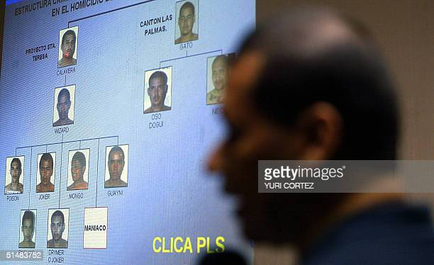 A police officer of a special unit of the National Civilian Police shows pictures of the main leaders and members of the Mara Salvatrucha gang before...