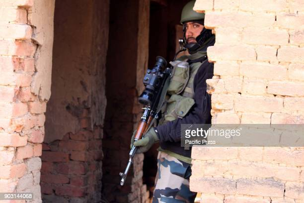 Police officer on the target site during the encounter with the rebels There were two rebels a civilian have been killed at Larnoo area of Kokernag...